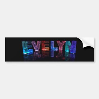 The Name Evelyn in 3D Lights (Photograph) Bumper Stickers