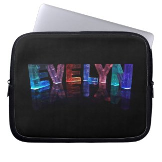 The Name Evelyn in 3D Lights (Photograph) Laptop Computer Sleeve