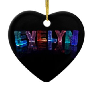 The Name Evelyn in 3D Lights (Photograph) Christmas Tree Ornament