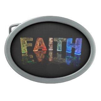 The Name Faith in 3D Lights (Photograph) Belt Buckle