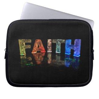 The Name Faith in 3D Lights (Photograph) Laptop Computer Sleeve