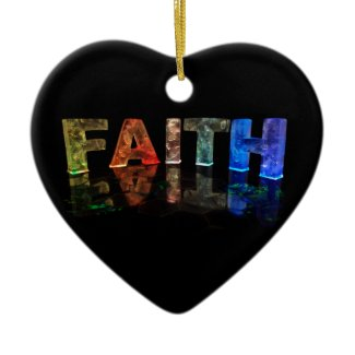 The Name Faith in 3D Lights (Photograph) Christmas Ornaments