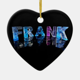 The Name Frank in 3D Lights (Photograph) Ceramic Heart Decoration