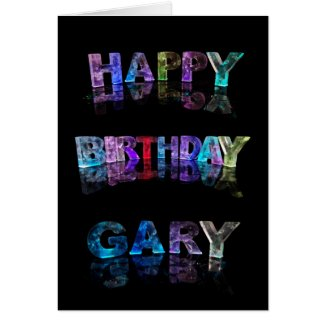 The Name Gary in 3D Lights (Photograph) Card