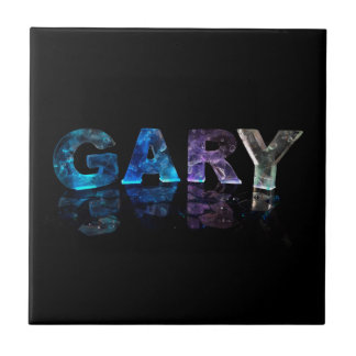 The Name Gary in 3D Lights (Photograph) Small Square Tile