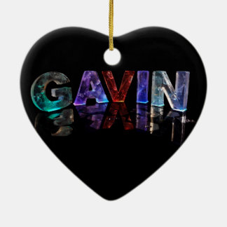 The Name Gavin in 3D Lights (Photograph) Ceramic Heart Decoration