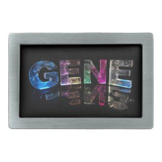The Name Gene in 3D Lights (Photograph) Rectangular Belt Buckle