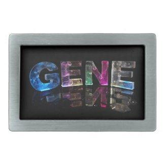 The Name Gene in 3D Lights (Photograph) Rectangular Belt Buckle