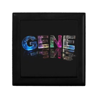 The Name Gene in 3D Lights (Photograph) Jewelry Box