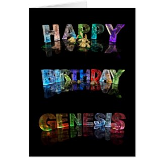 The Name Genesis in 3D Lights (Photograph) Card