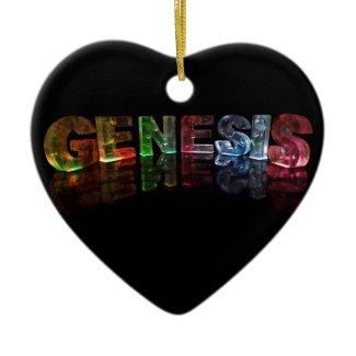 The Name Genesis in 3D Lights (Photograph) Christmas Tree Ornament