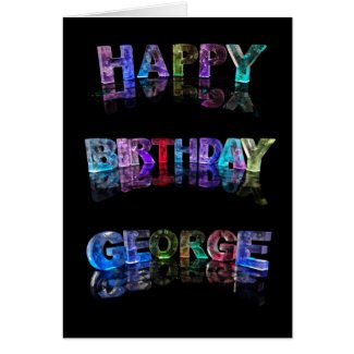 The Name George in 3D Lights (Photograph) Cards