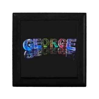 The Name George in 3D Lights (Photograph) Keepsake Boxes