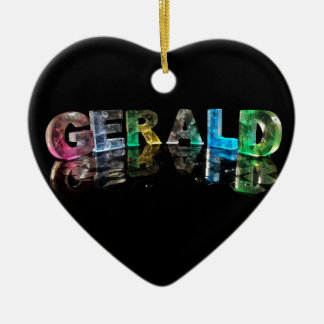The Name Gerald in 3D Lights (Photograph) Ceramic Heart Decoration
