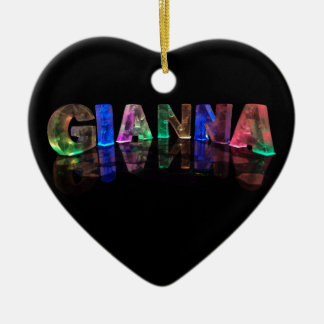 The Name Gianna in 3D Lights (Photograph) Ceramic Heart Decoration