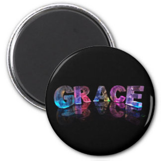 The Name Grace in 3D Lights (Photograph) 6 Cm Round Magnet