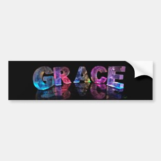 The Name Grace in 3D Lights (Photograph) Bumper Sticker