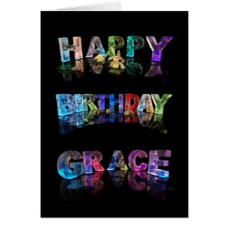 The Name Grace in 3D Lights (Photograph) Cards