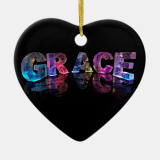 The Name Grace in 3D Lights (Photograph) Ceramic Heart Decoration