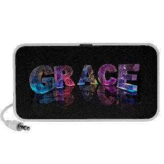 The Name Grace in 3D Lights (Photograph) Notebook Speakers