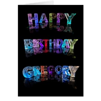 The Name Gregory in 3D Lights (Photograph) Greeting Card