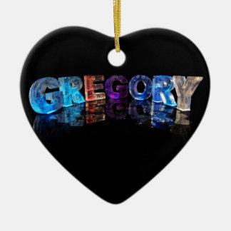 The Name Gregory in 3D Lights (Photograph) Ceramic Heart Decoration