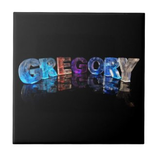 The Name Gregory in 3D Lights (Photograph) Ceramic Tiles