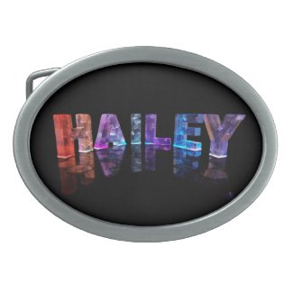 The Name Hailey in 3D Lights (Photograph) Oval Belt Buckles