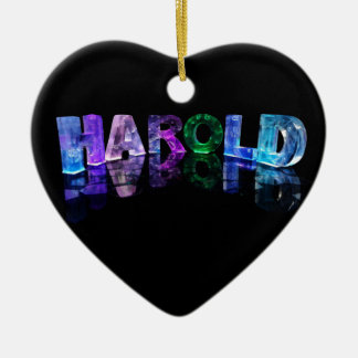 The Name Harold in 3D Lights (Photograph) Ceramic Heart Decoration