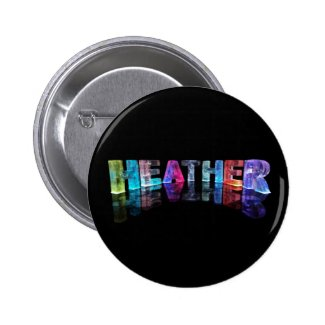 The Name Heather in 3D Lights (Photograph) Pinback Button
