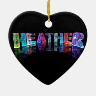 The Name Heather in 3D Lights (Photograph) Ceramic Heart Decoration