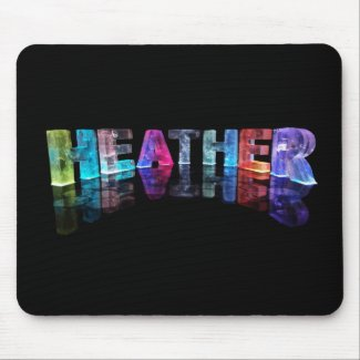 The Name Heather in 3D Lights (Photograph) Mousemat