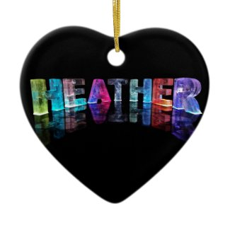 The Name Heather in 3D Lights (Photograph) Christmas Tree Ornaments