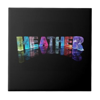 The Name Heather in 3D Lights (Photograph) Ceramic Tile