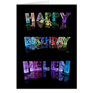 The Name Helen in 3D Lights (Photograph) Greeting Card