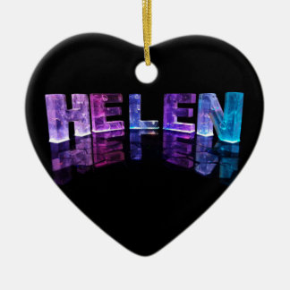 The Name Helen in 3D Lights (Photograph) Ceramic Heart Decoration