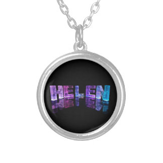 The Name Helen in 3D Lights (Photograph) Silver Plated Necklace