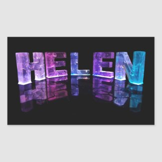 The Name Helen in 3D Lights (Photograph) Rectangle Sticker