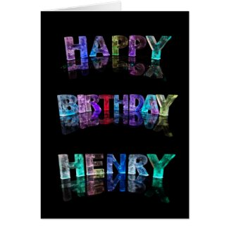 The Name Henry in 3D Lights (Photograph) Card