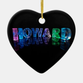 The Name Howard in 3D Lights (Photograph) Ceramic Heart Decoration