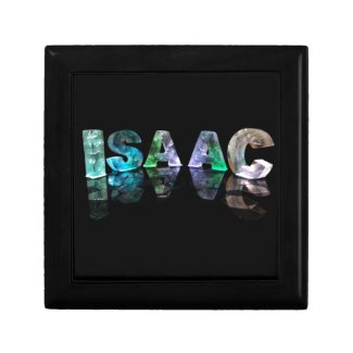 The Name Isaac in 3D Lights (Photograph) Keepsake Box