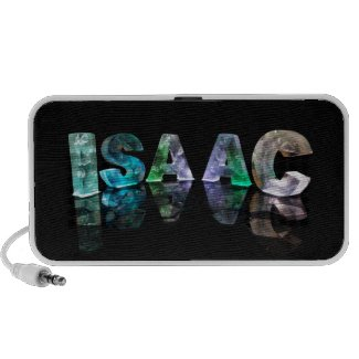 The Name Isaac in 3D Lights (Photograph) Portable Speakers