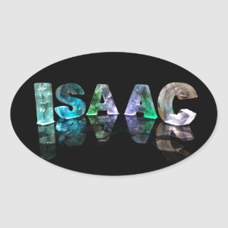 The Name Isaac in 3D Lights (Photograph) Oval Sticker
