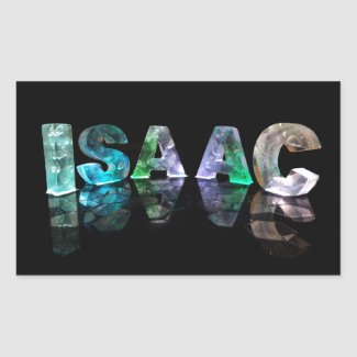 The Name Isaac in 3D Lights (Photograph) Rectangular Stickers