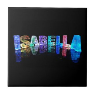 The Name Isabella in 3D Lights (Photograph) Ceramic Tile