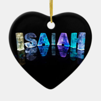 The Name Isaiah in 3D Lights (Photograph) Ceramic Heart Decoration