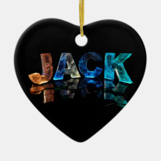 The Name Jack in 3D Lights (Photograph) Ceramic Heart Decoration
