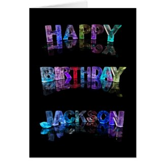 The Name Jackson in 3D Lights (Photograph) Cards
