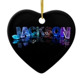 The Name Jackson in 3D Lights (Photograph) Christmas Ornament