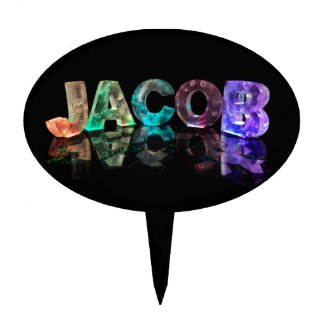 The Name Jacob in 3D Lights (Photograph) Cake Picks